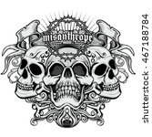 gothic coat of arms with skull  ... | Shutterstock .eps vector #467188784