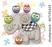 Cute Cartoon Elephant And Five...