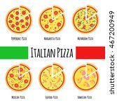 pizza menu with pieces... | Shutterstock .eps vector #467200949