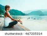 beautiful woman in lotus... | Shutterstock . vector #467205314