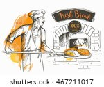 baker in uniform taking out... | Shutterstock .eps vector #467211017
