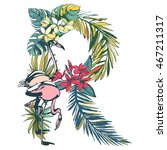 illustration tropical floral... | Shutterstock . vector #467211317