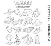 outline timber icons set....
