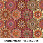 colorful red tiles boho... | Shutterstock .eps vector #467259845