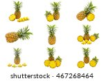 isolated set of pineapples... | Shutterstock . vector #467268464