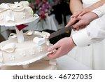 hands of bride and groom cut of ...   Shutterstock . vector #46727035