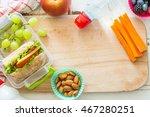 making school lunch on wood... | Shutterstock . vector #467280251