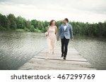charming bride  elegant groom... | Shutterstock . vector #467299769