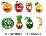 funny fruits with face | Shutterstock . vector #467302019