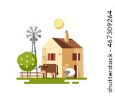 farmhouse with farm animals.... | Shutterstock .eps vector #467309264