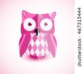 a pink owl | Shutterstock .eps vector #467315444