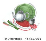 sketch of tea kettle and cup of ... | Shutterstock . vector #467317091
