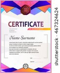 certificate template  colorful... | Shutterstock .eps vector #467324624