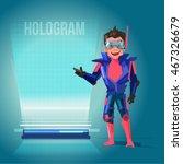 smart man in future suit... | Shutterstock .eps vector #467326679
