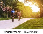 a couple riding bicycles on the ... | Shutterstock . vector #467346101