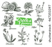 graphic set green pharmacy. set ... | Shutterstock .eps vector #467353397
