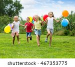 happy children running with... | Shutterstock . vector #467353775