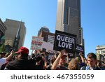 Small photo of Cleveland, OH July 20, 2016: Republican National Convention - Protesters march towards Quicken Loans Arena