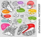 set of stickers in sketch style ... | Shutterstock .eps vector #467358389