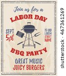 vintage labor day bbq party... | Shutterstock .eps vector #467361269