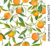 seamless floral pattern. orange ... | Shutterstock .eps vector #467364275