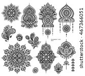 Vector Set Of Indian Floral...