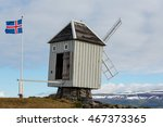 Windmill And Icelandic Flag At...