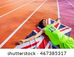 happy british marathon winner... | Shutterstock . vector #467385317