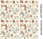 sewing seamless doodle vector... | Shutterstock .eps vector #467390501