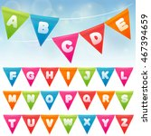 abc with party flags. handmade... | Shutterstock .eps vector #467394659