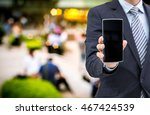 isolated business man hold the ...   Shutterstock . vector #467424539
