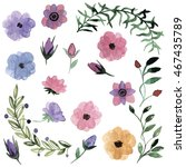 watercolor flowers  raster | Shutterstock . vector #467435789