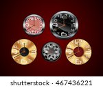 wall clock on a red background | Shutterstock . vector #467436221