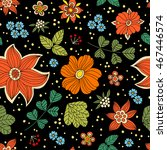 hand drawn floral doodle vector ... | Shutterstock .eps vector #467446574