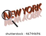 exploring city red letters in 3D part of word enlarged by magnifying glass new york city trip holiday tourism icon button travel traveling visit - stock photo