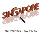 exploring city red letters in 3D part of word enlarged by magnifying glass Singapore city trip holiday tourism icon button travel traveling visit - stock photo