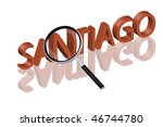 exploring city red letters in 3D part of word enlarged by magnifying glass Chili Santiago city trip holiday tourism icon button travel traveling visit - stock photo