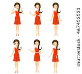 set of girl character | Shutterstock .eps vector #467453531