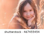 a beautiful young girl smiling... | Shutterstock . vector #467455454