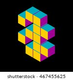 isometric number three | Shutterstock .eps vector #467455625
