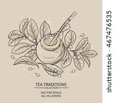 illustration with mate tea in... | Shutterstock .eps vector #467476535