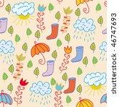 Cute Seamless Pattern With Rai...