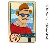 zodiac sign. cartoon aquarius... | Shutterstock . vector #467478071