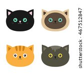 cat head set. siamese  red ... | Shutterstock . vector #467512847