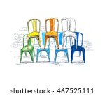 sketches of furniture  tolix... | Shutterstock . vector #467525111