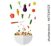 fresh vegetables salad vector... | Shutterstock .eps vector #467534525