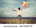 cheering young asian woman on...   Shutterstock . vector #467546579