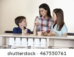 family choosing between cones... | Shutterstock . vector #467550761
