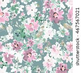 watercolor floral seamless... | Shutterstock . vector #467567021