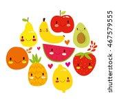 Vector Set Of Cute Fruit. Very...